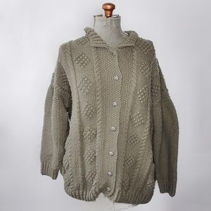Army Green Oversized Chunky Hand Knit Sweater